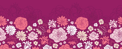 紫色桃红色花现出轮廓水平的无缝的样式背景边界 库存照片