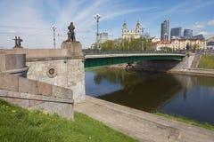 绿色桥梁的外部在维尔纽斯,立陶宛 免版税库存照片