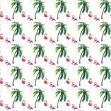 绿色棕榈树和桃红色火鸟watercolo的明亮的可爱的嫩柔和的老练美妙的热带夏威夷夏天样式 皇族释放例证