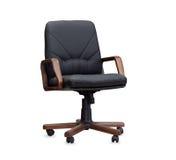 黑色椅子皮革办公室 查出 免版税库存图片