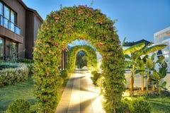 绿色植物曲拱在手段庭院里 库存照片
