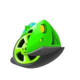 绿色概念汽车和轮子的例证 库存图片
