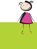 绿色横幅的女孩 图库摄影