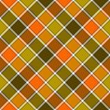 绿色橙色对角检查格子花呢披肩无缝的样式 皇族释放例证