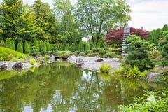 绿色池塘在日本庭院里在波恩 免版税库存图片