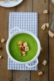 绿色汤奶油汤用油煎方型小面包片 库存照片