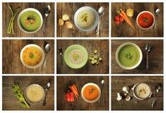 4绿色汤 免版税库存照片