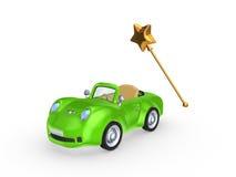 绿色汽车和魔术鞭子。 库存照片