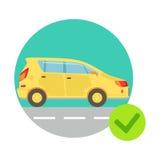 黄色汽车在Round Frame, Insurance Company中为Infographic例证服务 免版税库存照片