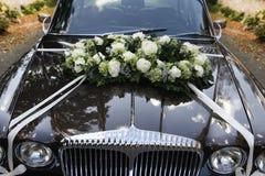 黑色汽车婚礼 免版税图库摄影