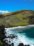 绿色沙子火山的海滩夏威夷 免版税库存图片