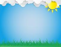 绿色沼地、太阳和云彩由纸板制成 库存照片