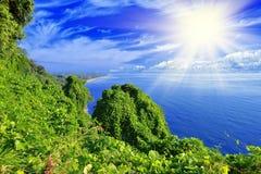 绿色海岛、海和蓝天 库存照片