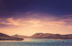 绿色海岛和海自然风景葡萄酒 库存照片