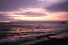 紫色海视图日落风景 图库摄影