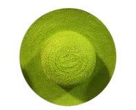 绿色海滩帽子由竹子和棕榈叶做成 免版税库存图片