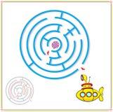 黄色潜水艇必须穿过迷宫和发现罕见的壳  图库摄影