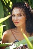绿色灌木的秀丽成熟妇女,草本密林 免版税库存照片