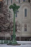 绿色灯笼在Kronstadt 免版税库存照片