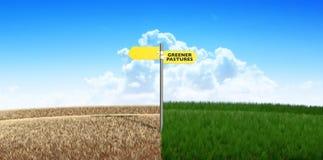 绿色牧场地标志 免版税库存图片