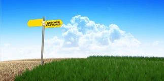 绿色牧场地标志 库存照片