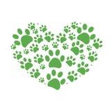 绿色狗爪子印刷品由心脏传染媒介制成 库存照片