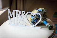 黄色玫瑰和其他花婚礼花束  免版税图库摄影
