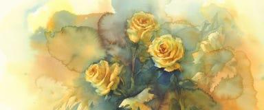 黄色玫瑰静物画水彩 免版税库存照片