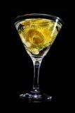 黄色玫瑰马蒂尼鸡尾酒 库存照片