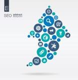 色环,在一个箭头的平的象形状:技术、SEO,网络,数字式,逻辑分析方法、数据和市场概念 库存图片