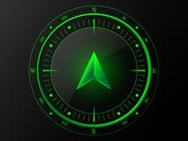 绿色现代指南针 免版税库存图片