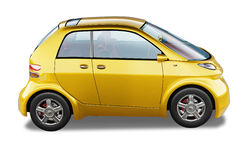 黄色现代普通小城市汽车。 库存图片