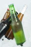 绿色瓶啤酒 免版税库存照片