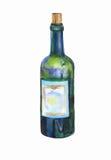 绿色瓶酒水彩 免版税库存图片