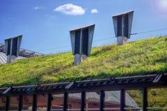 绿色生存屋顶 Eco友好大厦 免版税图库摄影