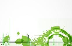 绿色生态六角形和叶子网技术横幅 免版税图库摄影