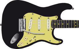黑色电吉他 免版税库存照片