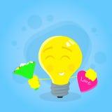 黄色电灯泡光举行开花花束糖果箱子 向量例证