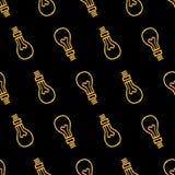 黄色电灯泡手拉的无缝的样式 库存图片