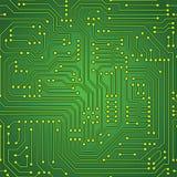 绿色电路板无缝的样式 免版税库存图片