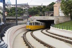 黄色电车运输在布达佩斯 库存照片