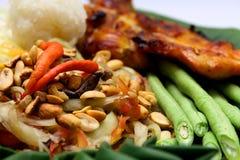 绿色番木瓜沙拉投入了盐味的螃蟹和烤鸡 免版税库存照片