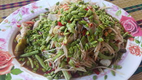 绿色番木瓜沙拉 库存照片