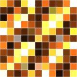黄色白色棕色方形的马赛克无缝的背景 免版税库存图片