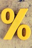 黄色百分率符号 图库摄影