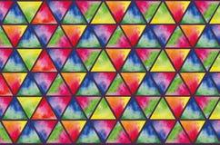 色的三角水彩纹理  免版税库存图片