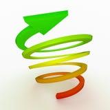 色的上升箭头,螺旋 免版税图库摄影