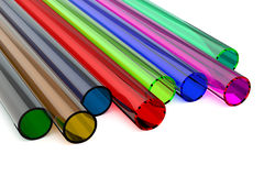 色的丙烯酸酯的塑料管 库存照片