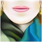 色的丝绸围巾的美丽的女孩 免版税库存照片