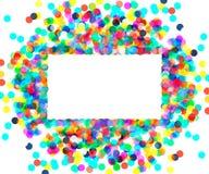 色的五彩纸屑长方形框架  库存照片